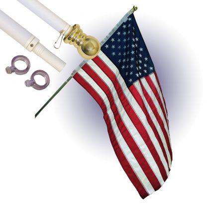 White Flag Pole Gold Globe